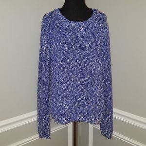 Fossil Blue White Long Sleeve Crewneck Sweater